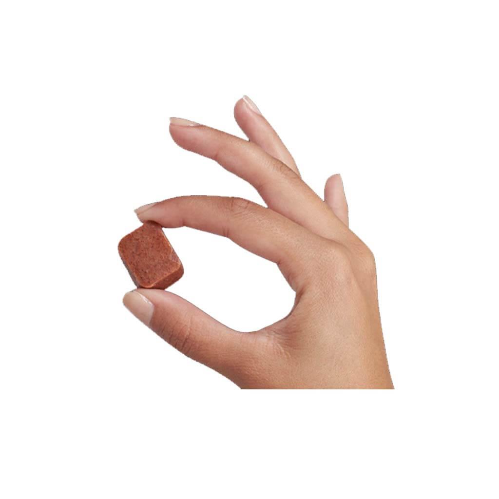 Hand holding one Nexgard Chewable.